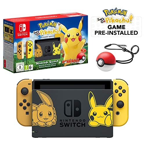 Nintendo Switch Let's Go Pikachu Limited Edition Console with Joycon, Pre-Installed Pokémon:...