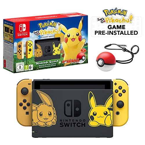 Nintendo Switch Let's Go Pikachu Limited Edition Console with Joycon, Pre-Installed Pokémon: Let's Go Pikachu + Pokeball Plus Controller (UK Version)
