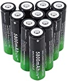 Rechargeable Battery 10Pcs Rechargeable Batteries 18650 Lithium Battery Smart Batteries 5800Mah 3.7V Large Capacity Rechargeable Batteries Button Top Battery for Flash Flashlight