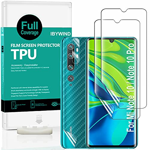 Ibywind Clear TPU Film Screen Protector for Xiaomi Mi Note 10 / Mi Note 10 Pro,[Pack of 2],[Camera Lens Protector][Back Carbon Fiber Film Protector][in-Display Fingerprint Support][Bubble Free]