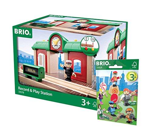 BRIO Eisenbahn Set - 33578 Sprechender Bahnhof und 33829 1x Figuren Pack Serie 1