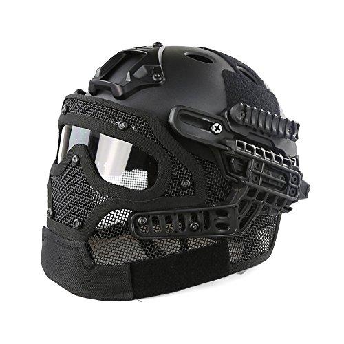 Casco protector con máscara y gafas tácticas para juegos de guerra de...