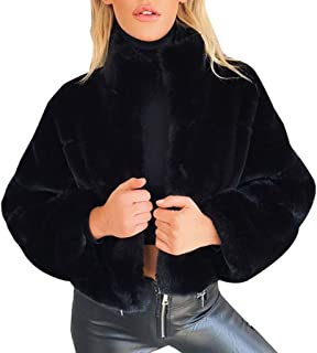 Faux Fur Jacket Coat Womens Winter Solid Stand Collar Cropped Short Warm Fuzzy Loose Cardigan Trench Coats Fall