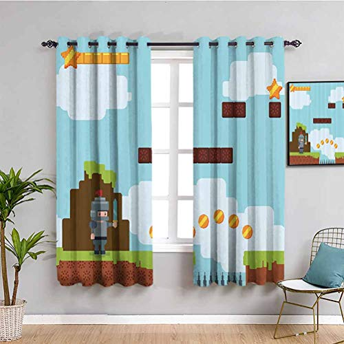 Cortinas insonorizadas para dormitorio retro Arcade World Kids 90s Fun Theme Knight con espada bola de fuego Bono estrellas monedas cortina interior multicolor de 163 x 1177 cm