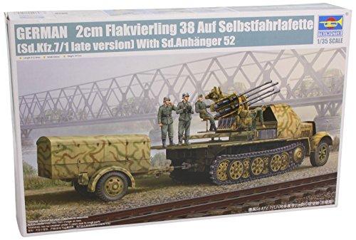 Trumpeter 1/35 German SdKfz 7/1 Late Version Halftrack with 2cm Flak 38 Gun and Supply Trailer