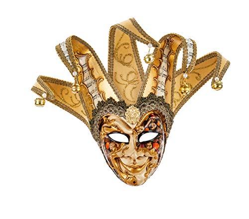 Original venezianische kleine Deko-Maske mit Jokergesicht, handgefertigt, Dekor mit kupfer- und goldfarbenem Phantasiemuster, Spitzen aus Samt und Papier mit Partiturmotiven. Made In Italy