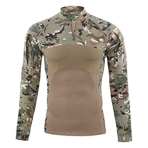Mettime Herren Tactical Shirt Combat Shirt Slim Fit Langarm Camouflage Shirt Paintball Airsoft Army Hemd Bundeswehr T-Shirt Militär Uniform