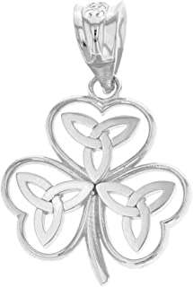 Elegant 925 Sterling Silver Irish Shamrock Pendant with Celtic Trinity Knot
