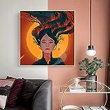 WenBo Mural de Pintura Decorativa Arte de la Pared Línea Negra Pintura Decorativa Pintura Abstracta de la Lona Cuadro Decorativo Arte de la Pared de la Lona para la Sala de Estar -60x80cm