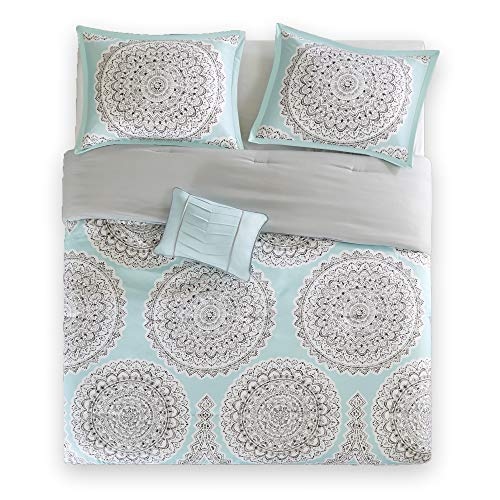 "Comfort Spaces Adele 3 Piece Comforter Set Ultra Soft All Season Girls Room Bedding, Twin/Twin XL(66""x90""), Aqua"
