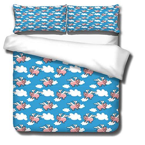 Tröster Startseite Satz, Kinder Bettwäsche Satz 135X200, Bettbezug Für Jugendliche Jugend Mädchen, Schlafzimmer Dekor(piggy-200cmX230cm)
