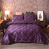 feelyou Pintuck Duvet Cover Set King Size Purple Pinch Pleat Duvet Cover Tufted Design Bedding Set Zipper Soft Polyester Comforter Cover with 2 Pilllow Shams, Solid Geometric 3 Pieces