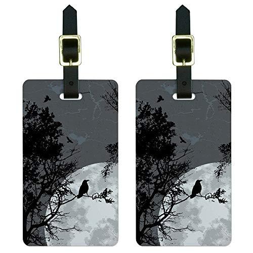 Graphics & More Raven at Night-Black Bird Full Moon - Etiquetas para equipaje de mano, color blanco