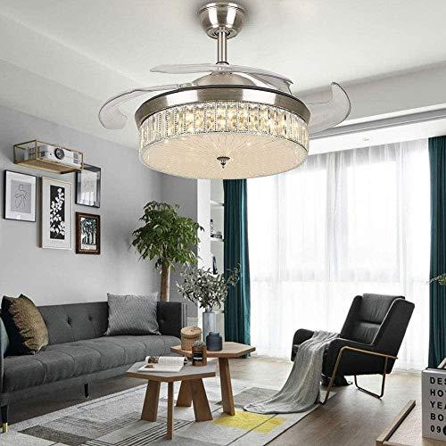 OUPPENG Lámpara de Ventilador Ventilador de techo de cristal de cristal cromado de moda, ventilador ligero Salón de comedor de dormitorio integrado Luz de ventilador de techo, luz de ventilador de DC