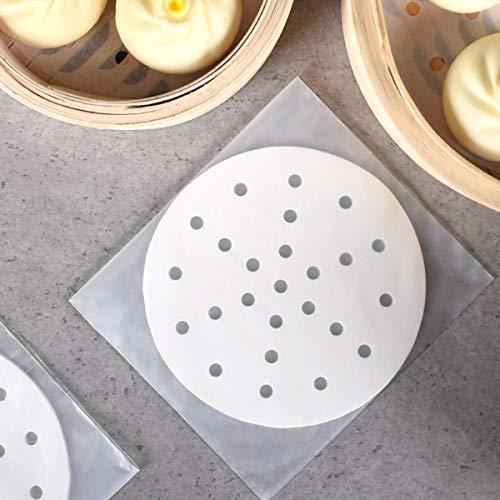 250 Stück Dim Sum Papier als Unterlage für Bambusdämpfer, Heißluftfritteuse, Dampfgarer Airfryer Liners, antihaftbeschichtet, rundes Backpapier Perforiertes Bambus Papier (6Zoll/15.2cm)