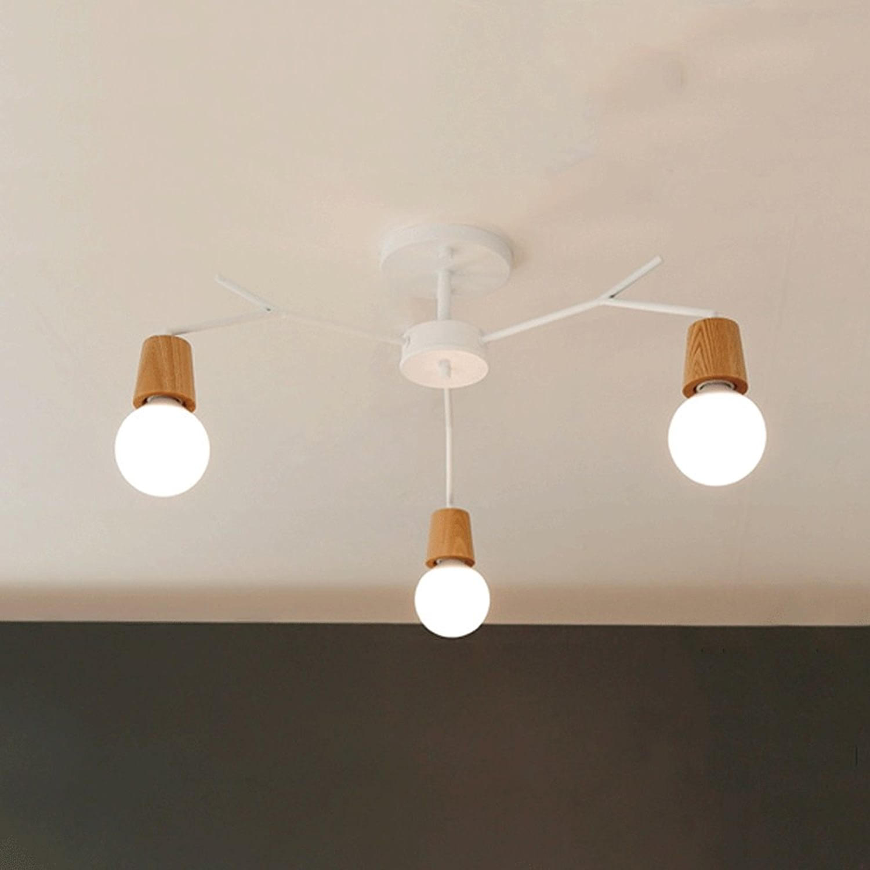 Nordique Creative Plafonnier En Bois Moderne 3 Tête   5 Tête Fer Pendentif Lampe Salon Chambre étude Décoration Lustre (style   3a)