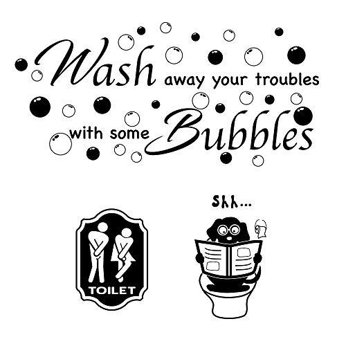 3pcs Pegatinas Pared para Aseo Lavabo Baño Vinilos Inodoro Stickers WC Frases Ingles Toilet Signo Baño Puerta Toilet Hombre Mujer Adhesivos Decorativos