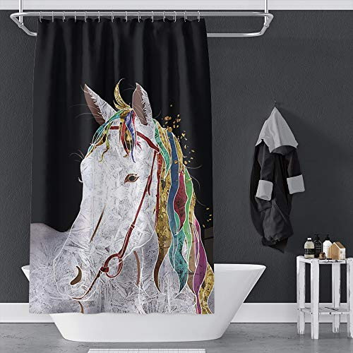 """Musemailer Waterproof Polyester Horse Shower Curtain 55""""x71"""" Abstract White Horse Drawing Colorful Horse Hairs Design Black Background Fabric Quick-Dry Shower Curtain Decor for Bathroom Shower Room"""