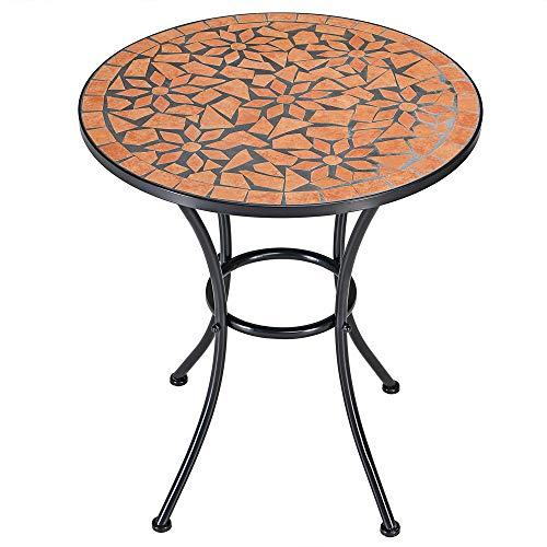 Deuba Bistrotisch Roma Mosaik Tisch Ø 60 cm Höhe 70 cm pulverbeschichtetes Metall Terrassentisch Garten Tisch