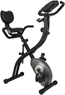 LAKAGO Slim Cycle 2-in-1 Folding Stationary Bike with Arm Resistance Bands, Digital Display,Pause Sensor