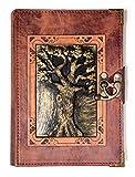 Tagebuch mit Baobab-Baum-Anhänger aus echtem braunem Leder (groß)