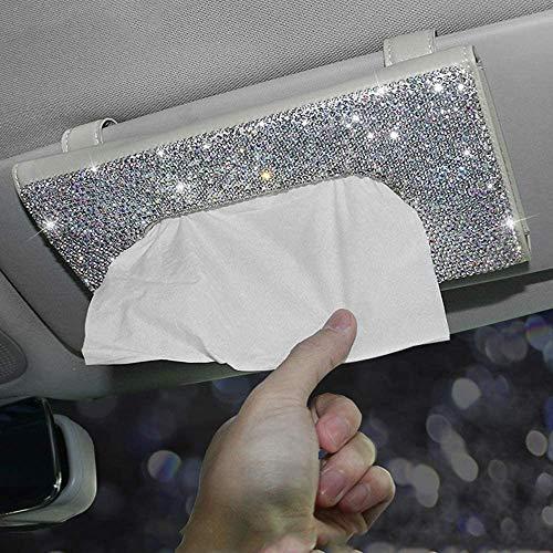 LIAOXIONG Servilletero para Caja de pañuelos para Visera de Coche Brillante, Caja de pañuelos para Asiento Trasero de Cuero PU, Piezas de automóvil Femeninas (Beige)