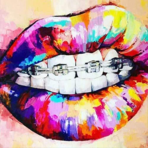 N/B DIY 5D Diamant Malerei bemalt Lippen stilvolle Moderne einfache Wohnzimmer voller Diamant voller Diamant Wandbild dekoriert Malerei