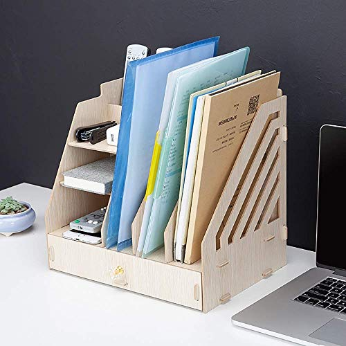 Home Equipment Desktop Stationery Storage Desk File Organiser Desktop File Holder with Drawer Organizer and Vertical Upright Section for Office Home for Home Office School (Color : A Size : 33X23X3