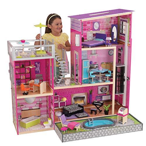 KidKraft 65833 Uptown Puppenhaus aus Holz mit Möbeln und Zubehör, Spielset mit drei Spielebenen für 30 cm große Puppen