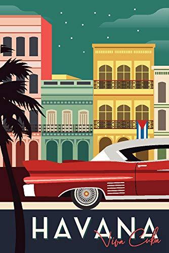La Havane, Cuba – bâtiments et vintage Car – Vector Antique 12 x 18 Art Print multicolore