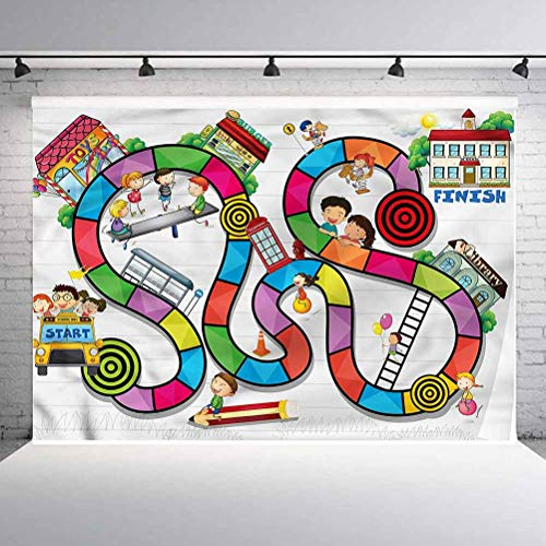 8x8FT Vinyl Wall Photography Backdrop,Board Game,Kids Play Notebook Paper Background for Baby Shower Bridal Wedding Studio Photography Pictures