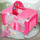 Costzon Baby Playard, 3 in 1 Multifunction Foldable Reversible Napper and Changer for Boys & Girls, Travel Infant Bassinet Bed with Music, Detachable Mat, Awning, Mosquito Net, Storage Bag (Pink)