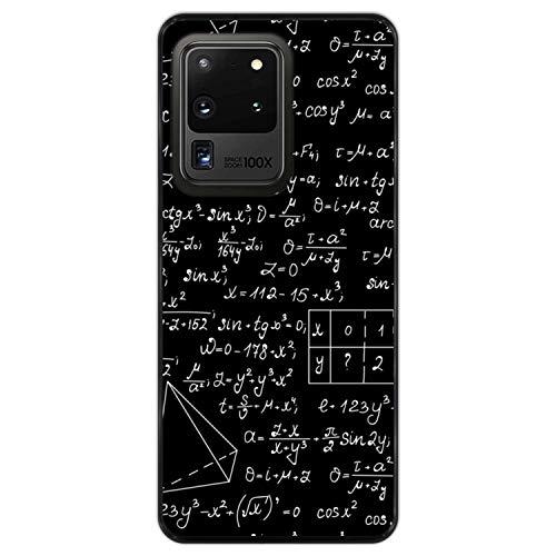 Telefoonhoesje voor [ Samsung Galaxy S20 Ultra 5G ] tekening [ Wiskundige berekeningen met algebra-plots, taakoplossingen ] Zwart TPU flexibele siliconen schaal