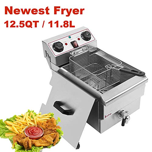 Heavy Duty Deep Fryer, 12.5Qt/11.8L Stainless Steel Large Single-Cylinder Electric Fryers with Removable Basket and Professional Heating Element, 110V 1500W Max US Plug (2Type-11.8L)