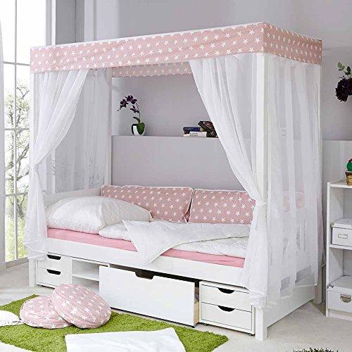 Pharao24 Mädchen Himmelbett mit Schubladen Weiß Rosa