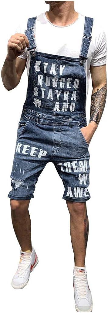 Men's Denim Bib Shorts Overalls Casual Adjustable Onesie Jumpsuit Slim Fit Jeans Rompers One Piece Denim Shorts