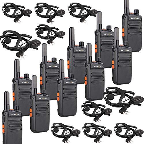 Retevis RB635 Walkie Talkie con Auricular, Walkie Talkie VOX, Radio PMR, 2 Way Radio Profesional, Transceptor Portátil con Linterna para Escuela, Club, Planificación de Eventos (Negro, 10 Piezas)