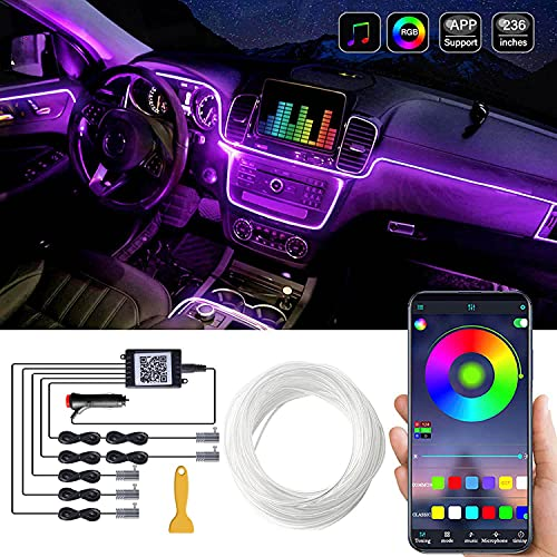 Car LED Interior Strip Light, 16 Million Colors 5 in 1 with 236 inches Fiber Optic, Multicolor RGB Sound Active Automobile Atmosphere Ambient Lighting Kit - Wireless Bluetooth APP Control
