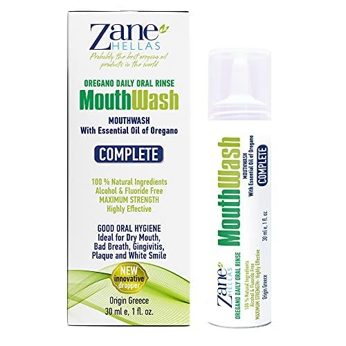 Zane Hellas MouthWash. Oral sköljning med Oregano Oil Power. Perfekt för tandkötsinflammation, plack, torr mun och dålig andning. Alkohol- och fluorfri. 100% växtbaserad lösning. 1 fl. Uns. -30 ml.