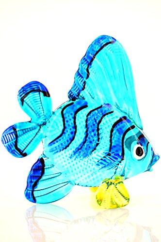 Zierfisch Blau Schwarz Gestreift Gelb - Glas Figur Blauer Korallenfisch S y116 Glasfisch Deko Aquarium Vitrine