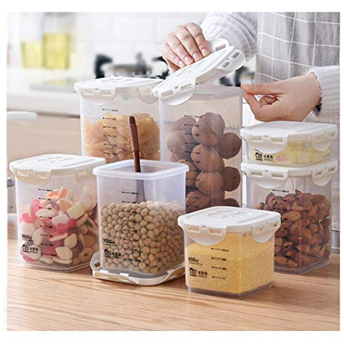 Transparent Sealed Cans Food Storage Containers - Great for Flour, Sugar, Baking Supplies - Best Airtight Kitchen & Pantry Storage (1000ml)