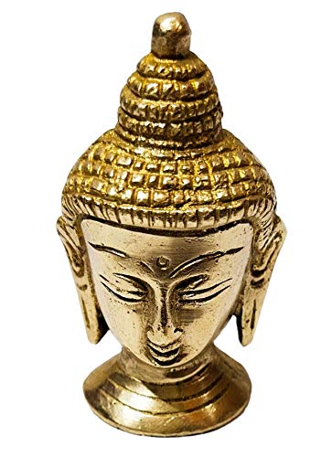 athizay 6 cm Shiny Brass Buddha for Table Top Decor Brass Metal Antique Gold Finish Usage Paper Weight   Table Decorative Item Showpiece for Home   Office