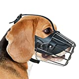 GGR Basket Dog Muzzle Breathable Pitbull Metal Mask Mouth Cover Adjustable Leather Straps Pit Bull for Large Medium Dogs