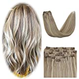 YoungSee 14 Pouces Extension Cheveux a Clip Blond Cendré mixte Bleach Blond Extension Cheveux Naturel a Clip Blond Cheveux Humain 100% Remy Human Hair Tête Pleine 7pcs/120g
