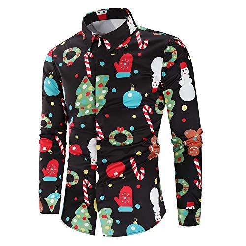 Herren Freizeithemd Button Down T-Shirts Langarmshirts Blumenhemd 3D Gedruckt Muster Hemd Arbeitshemd Urlaub Hawaii Shirt Männer Lustige Weihnachtshemden Festival Party Freizeitkleidung top XXL
