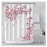 KJBGS Duschvorhang Rosa Kirschblüte Pfirsichblüten Duschvorhang Weißer Hintergr& Mädchen Badezimmer Wasserdichter Polyester Tuch Display mit Haken