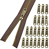 Nylon Coil Zippers #5- Long Zippers by The Yard Antique Brass Metallic Teeth- Sewing Zipper Bluk Brown Tape with 20PCS Slider-VOC DIY Zipper for Tailor Sewing Crafts 10 Yards(Brown Tape)