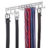 mDesign Perchero de pared – Práctico organizador de cinturones, pañuelos, bolsos y accesorios – Corbatero para armario o pared de color cromo