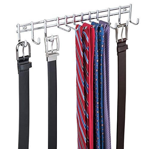 mDesign Hakenleiste wandmontiert – praktischer Krawattenhalter, Gürtelhalter – für Tücher, Taschen und Accessoires – Wandmontage, chromfarben