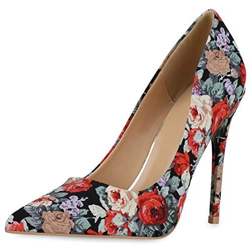 SCARPE VITA Damen Spitze Pumps Stiletto High Heels Party Schuhe Blumen Print Absatzschuhe Modische Abendschuhe 190449 Schwarz Rot Hellgrün 40